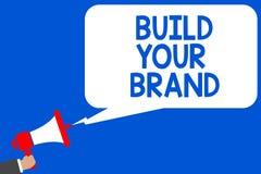 词文字文本修造您的品牌 Make的企业概念一个商业身分营销广告多条线路蓝色sc 向量例证