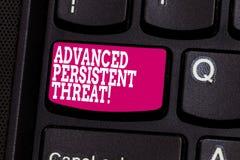 词文字文本先进的持续威胁 未被授权的用户的企业概念对系统键盘能够存取 免版税图库摄影