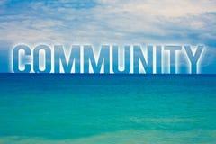 词文字文本公共 邻域协会状态加入联盟团结小组蓝色海滩水的企业概念 库存照片