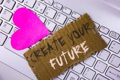 词文字文本创造您的未来 在泪花汽车写的事业目标目标改善集合计划学会的企业概念 免版税库存照片