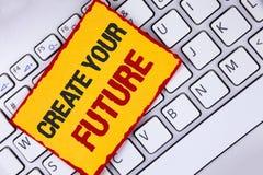 词文字文本创造您的未来 在稠粘的N写的事业目标目标改善集合计划学会的企业概念 库存照片