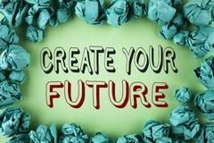 词文字文本创造您的未来 在简单的ba写的事业目标目标改善集合计划学会的企业概念 免版税库存图片