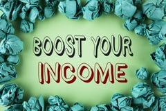 词文字文本助力您的收入 企业概念为改进您的付款做自由职业者的半日工作在平原写Improve 图库摄影