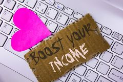 词文字文本助力您的收入 企业概念为改进您的付款做自由职业者的半日工作在泪花写Improve C 图库摄影