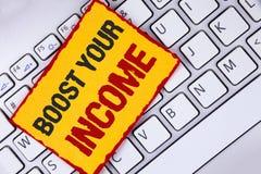词文字文本助力您的收入 企业概念为改进您的付款做自由职业者的半日工作在稠粘写Improve 免版税库存照片