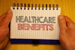 词文字文本医疗保健好处 它的企业概念是包括医疗费用纸想法消息的保险 免版税库存照片