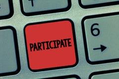词文字文本参与 Take part的企业概念或变得包含在活动志愿者 免版税图库摄影