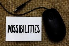词文字文本可能性 也许发生或是案件状态是mous可能的USB的缆绳的事的企业概念 免版税库存照片