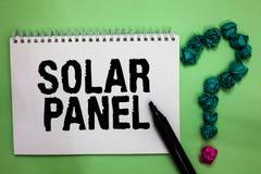 词文字文本太阳电池板 设计的企业概念能吸收太阳能源生成笔记本标志的光芒来源爆炸 免版税库存图片