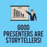 词文字文本好赠送者是讲故事者 伟大的通信装置的企业概念讲优秀故事供以人员  向量例证