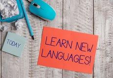 词文字文本学会新的语言 开发的能力的企业概念能沟通在外国lang 免版税图库摄影