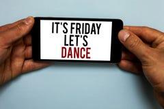 词文字文本它s是星期五让s是舞蹈 开始的Celebrate的企业概念周末去党迪斯科音乐人的ha 库存照片