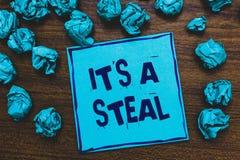 词文字文本它s是窃取 得到的破坏机密资料的网络企业概念乱砍蓝纸笔记 免版税库存图片