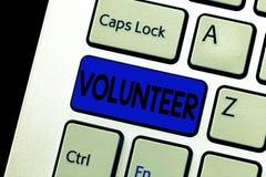 词文字文本志愿者 自由提供在某事参与慈善的人的企业概念 免版税库存照片