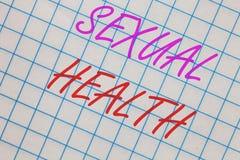 词文字文本性健康 更加健康的身体令人满意性生活积极关系笔记本正方形的企业概念 库存图片