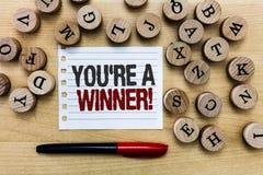 词文字文本您关于是优胜者 赢取的企业概念作为第1个地方或冠军在竞争中 免版税库存图片