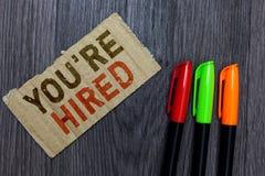 词文字文本您关于雇用 新的工作重要被使用的新手征的被接受的被吸收的纸板的企业概念 库存照片