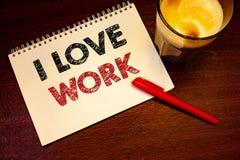 词文字文本我爱工作 是企业的概念为愉快的满意与工作做着什么您多数likeNotebook页黑色 库存照片