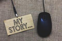 词文字文本我的故事 告诉的某人或读者企业概念关于您怎样居住您的生活纸板计算机m 库存图片