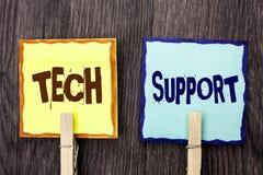 词文字文本技术支持 技术员给的帮助的企业概念在网上或电话中心在St写的顾客服务 免版税库存图片