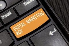 词文字文本数字营销Roi 得到的金钱s企业概念从市场活动值得 图库摄影