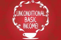 词文字文本无条件的基本的收入 有偿的收入的企业概念没有要求工作杯和 皇族释放例证