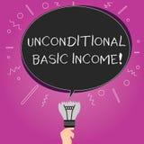 词文字文本无条件的基本的收入 有偿的收入的企业概念没有要求工作空白的长圆形 向量例证