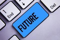 词文字文本未来 跟随将发生键盘蓝色k的现在事件的时期的企业概念 免版税库存照片