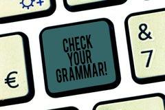 词文字文本检查您的语法 上下文拼写的更正标点校对的企业概念 库存照片