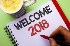 词文字文本欢迎2018年 新的庆祝的企业概念庆祝未来人写的愿望称心的愿望没有 图库摄影