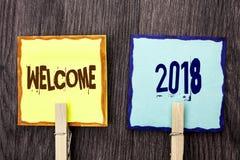 词文字文本欢迎2018年 新的庆祝的企业概念庆祝未来在稠粘写的愿望称心的愿望没有 免版税库存照片