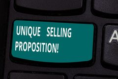 词文字文本独特的销售的提议 企业概念为区分从它的竞争者的一个产品 图库摄影