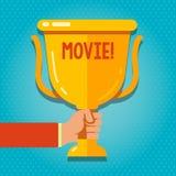 词文字文本电影 在屏幕手上显示的戏院或电视影片电影录影的企业概念 向量例证