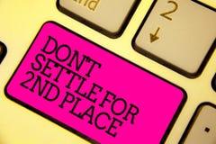 词文字文本第2个地方的不是唐t定居 您的企业概念可以是第一不停止这里键盘桃红色钥匙Inten 免版税图库摄影