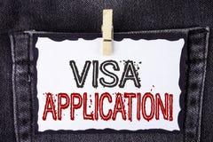 词文字文本签证申请诱导电话 板料的企业概念能提供在丝毫写的您的基本信息 免版税库存照片