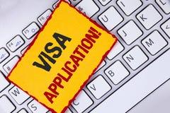 词文字文本签证申请诱导电话 板料的企业概念能提供在Stic写的您的基本信息 免版税库存图片