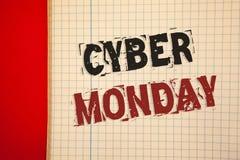 词文字文本网络星期一 特殊的拍卖的企业概念在黑星期五网上购物电子商务以后 库存照片