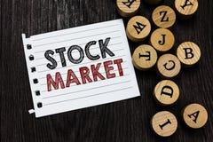 词文字文本股市 股票和证券被换或exhange片断笔记本的特殊市场的企业概念 图库摄影