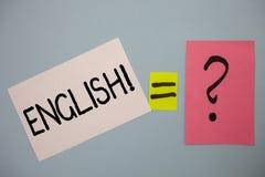 词文字文本英国诱导电话 与英国相关的企业概念它的人民或他们的语言想法消息 免版税库存图片
