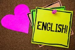 词文字文本英国诱导电话 与英国相关的企业概念它的人民或他们的语言黄柏背景 免版税库存图片