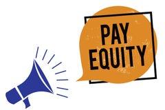 词文字文本薪水公平 消灭的性和种族歧视企业概念在薪水系统扩音机扩音器s 皇族释放例证