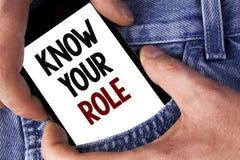 词文字文本认识您的角色 企业概念为定义了在工作或生活事业生活在机动性写的目标激活的位置 免版税图库摄影