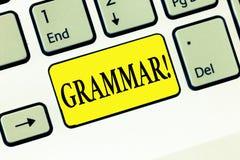 词文字文本语法 整个系统的企业语言概念和结构或语言一般 免版税库存照片