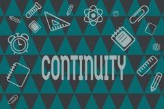 词文字文本连续性 随着时间的推移某事的完整的一致的存在操作的企业概念 向量例证
