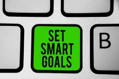 词文字文本集合聪明的目标 Establish可达成的宗旨的企业概念做好经营计划键盘绿色ke 库存照片