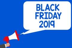 词文字文本黑色星期五2019年 企业概念为跟随感恩的天打折购物天多条线路蓝色sc 图库摄影