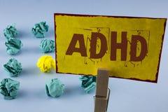 词文字文本Adhd 学会的企业概念使的容易对儿童教没有在黄色写的一个难题 库存图片