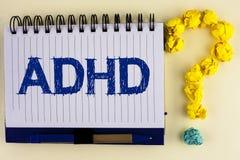 词文字文本Adhd 学会的企业概念使的容易对儿童教没有在Notebo写的一个难题 库存图片