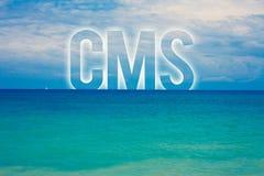 词文字文本Cms 美满的管理系统的企业概念支持数量蓝色海滩水分类的修改 免版税库存图片