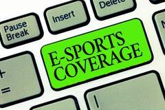 词文字文本E体育覆盖面 报告的企业概念活在最新的体育竞赛广播 库存照片